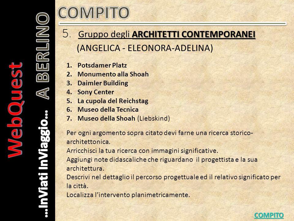 WebQuest A BERLINO COMPITO 5. Gruppo degli ARCHITETTI CONTEMPORANEI