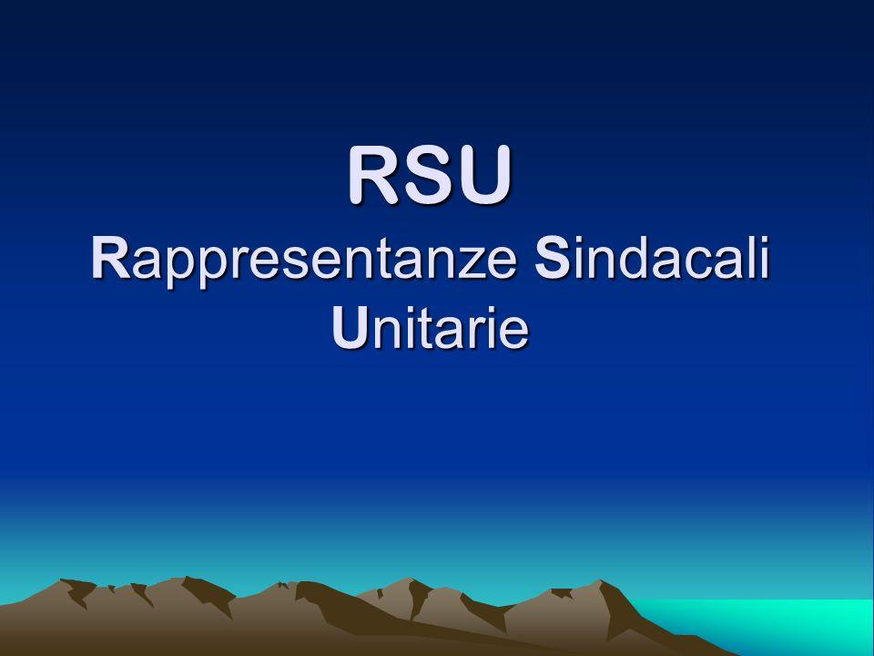 RSU Rappresentanze Sindacali Unitarie