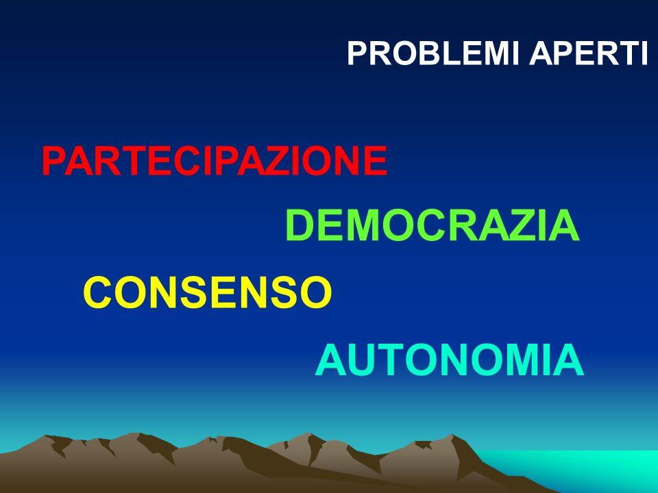 PROBLEMI APERTI PARTECIPAZIONE DEMOCRAZIA CONSENSO AUTONOMIA