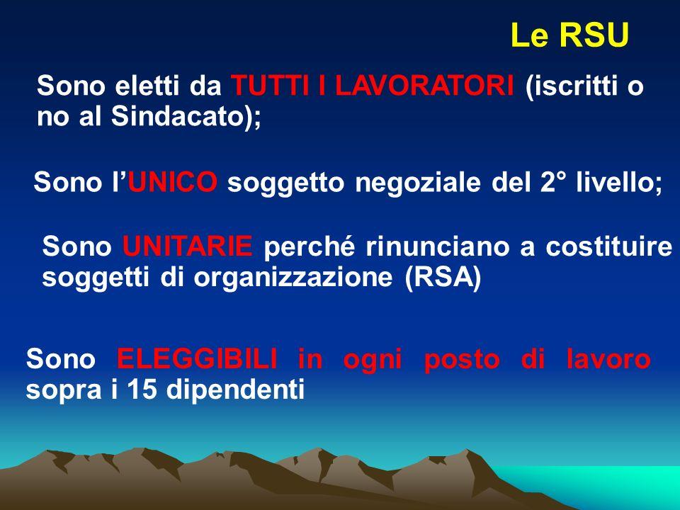 Le RSU Sono eletti da TUTTI I LAVORATORI (iscritti o no al Sindacato);