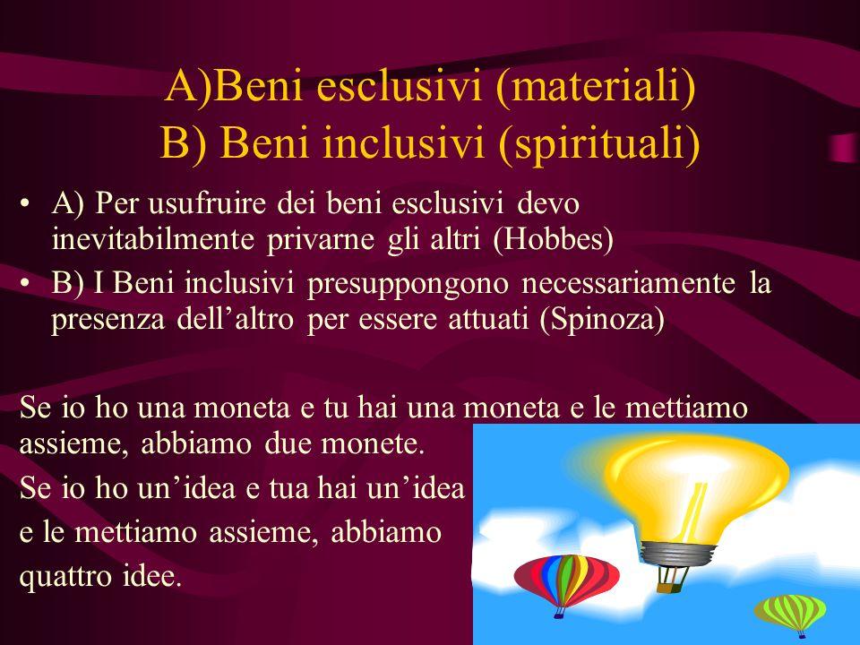 A)Beni esclusivi (materiali) B) Beni inclusivi (spirituali)