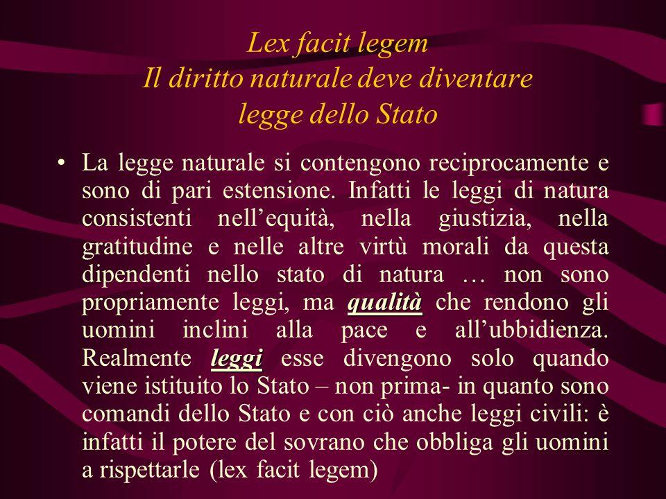 Lex facit legem Il diritto naturale deve diventare legge dello Stato