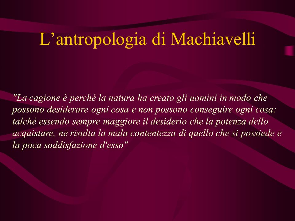 L'antropologia di Machiavelli