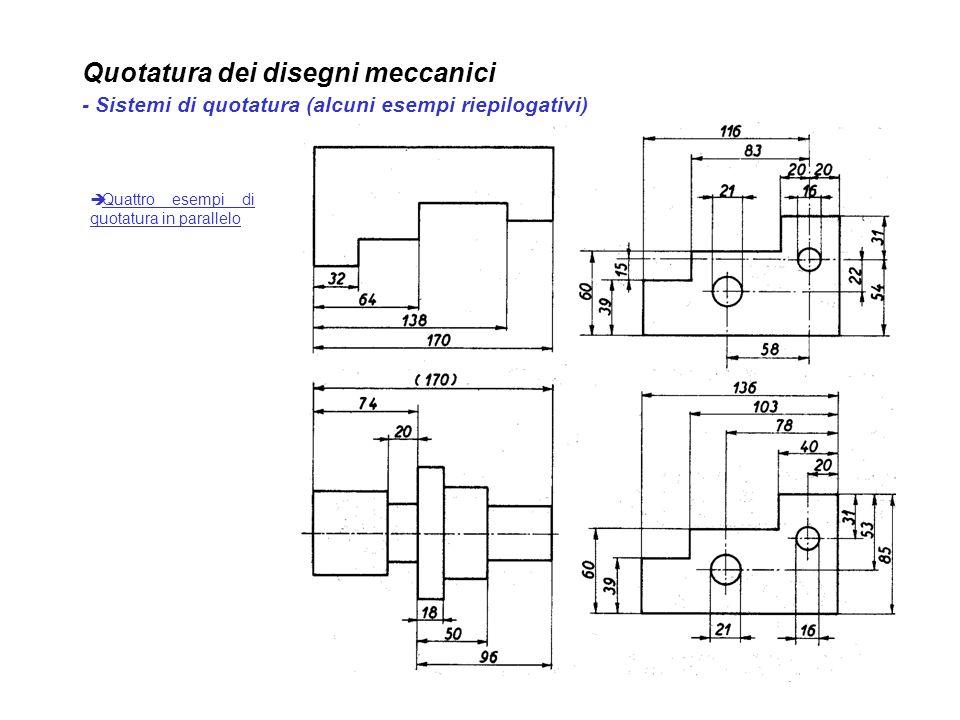 Quotatura dei disegni meccanici - Sistemi di quotatura (alcuni esempi riepilogativi)