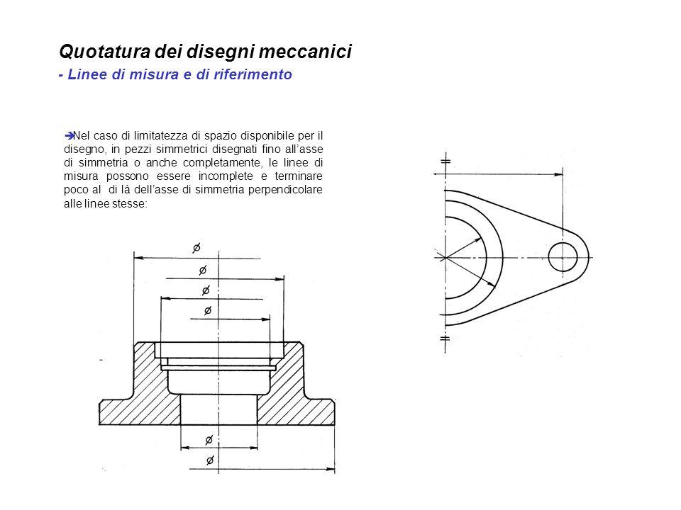 Quotatura dei disegni meccanici - Linee di misura e di riferimento