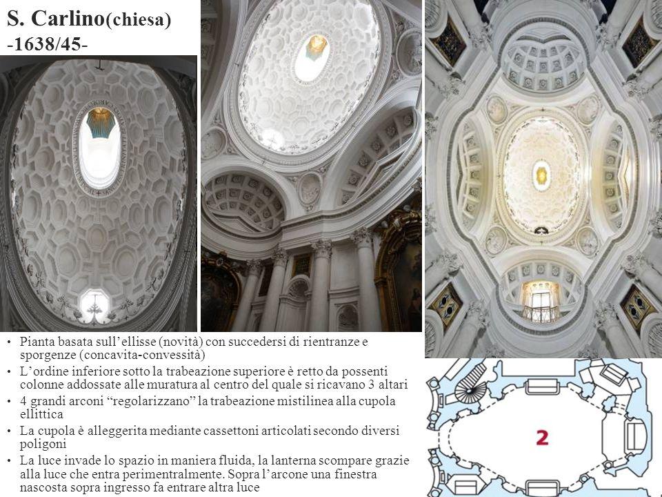 S. Carlino(chiesa) -1638/45- Pianta basata sull'ellisse (novità) con succedersi di rientranze e sporgenze (concavita-convessità)