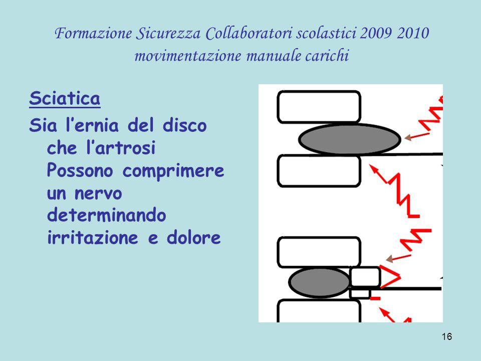 Formazione Sicurezza Collaboratori scolastici 2009 2010 movimentazione manuale carichi
