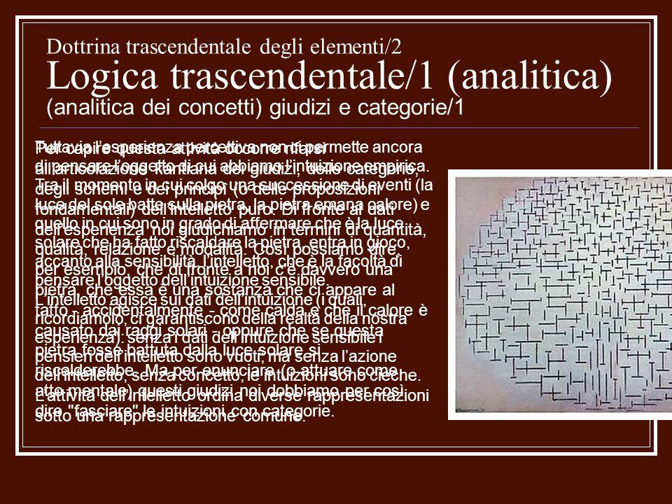 Dottrina trascendentale degli elementi/2 Logica trascendentale/1 (analitica) (analitica dei concetti) giudizi e categorie/1