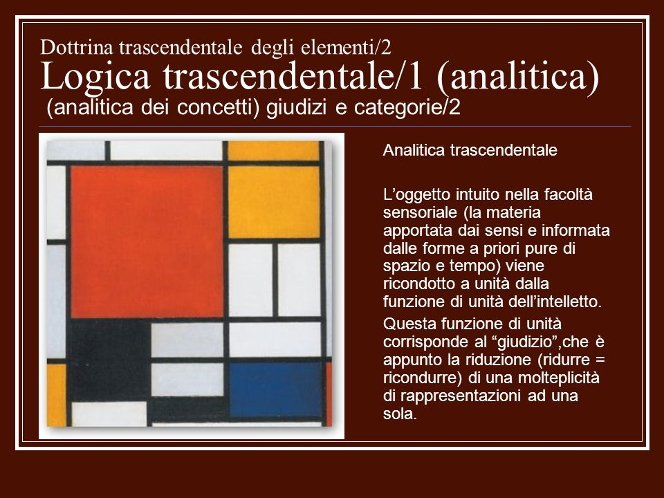 Dottrina trascendentale degli elementi/2 Logica trascendentale/1 (analitica) (analitica dei concetti) giudizi e categorie/2