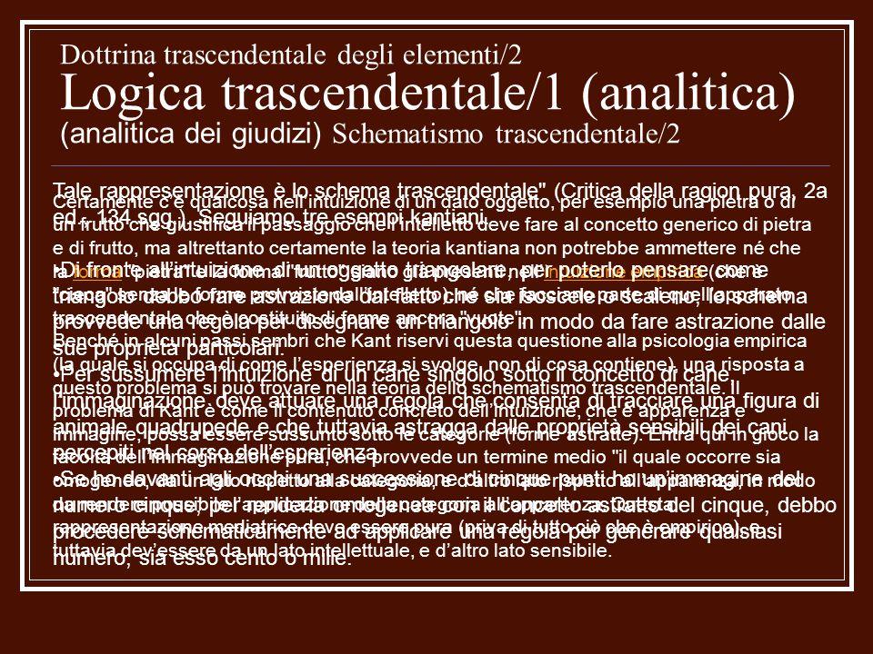 Dottrina trascendentale degli elementi/2 Logica trascendentale/1 (analitica) (analitica dei giudizi) Schematismo trascendentale/2