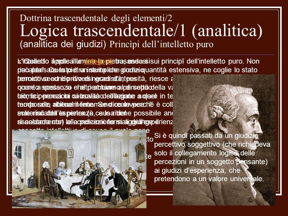 Dottrina trascendentale degli elementi/2 Logica trascendentale/1 (analitica) (analitica dei giudizi) Princìpi dell'intelletto puro