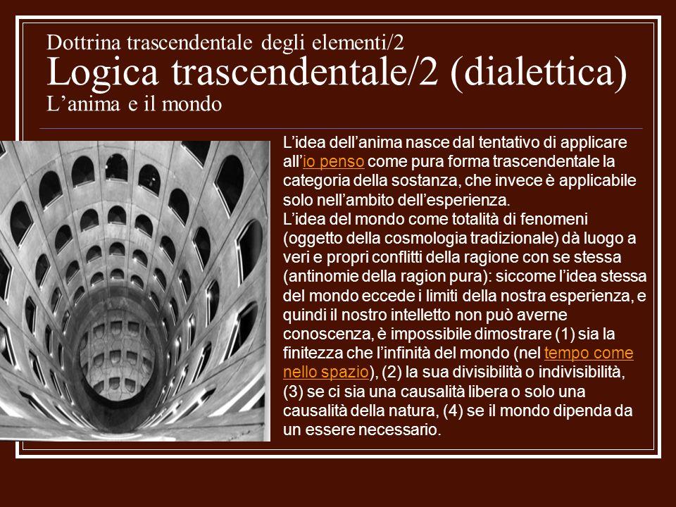Dottrina trascendentale degli elementi/2 Logica trascendentale/2 (dialettica) L'anima e il mondo