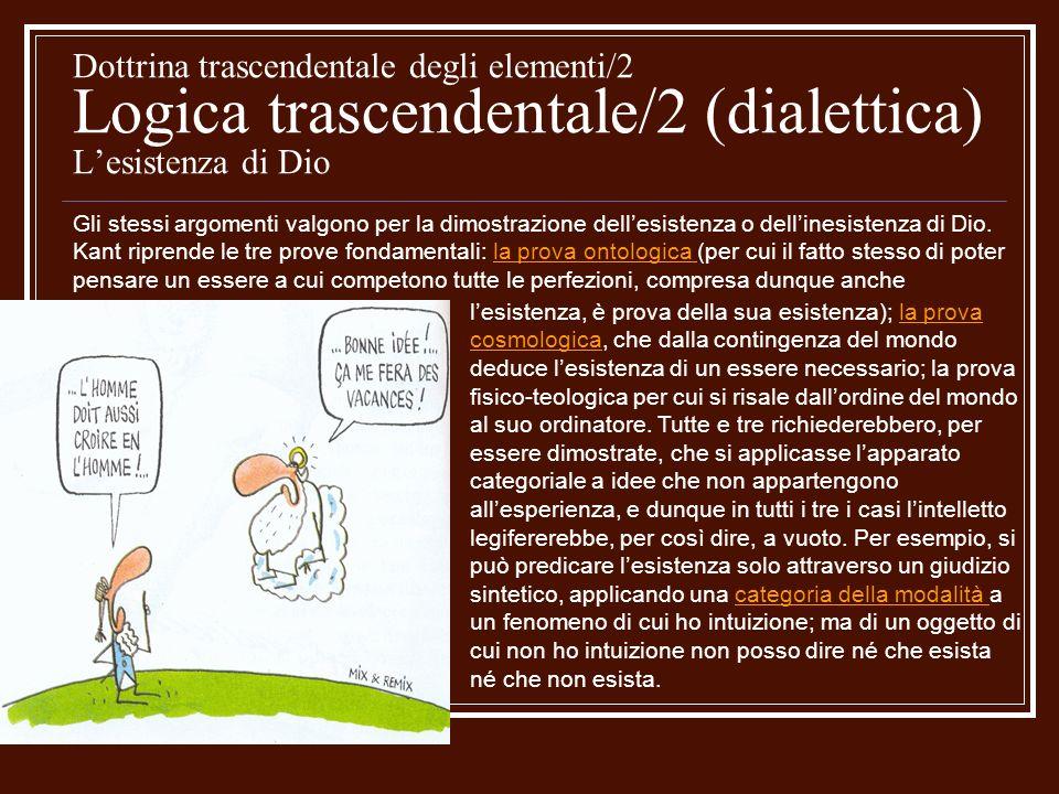 Dottrina trascendentale degli elementi/2 Logica trascendentale/2 (dialettica) L'esistenza di Dio