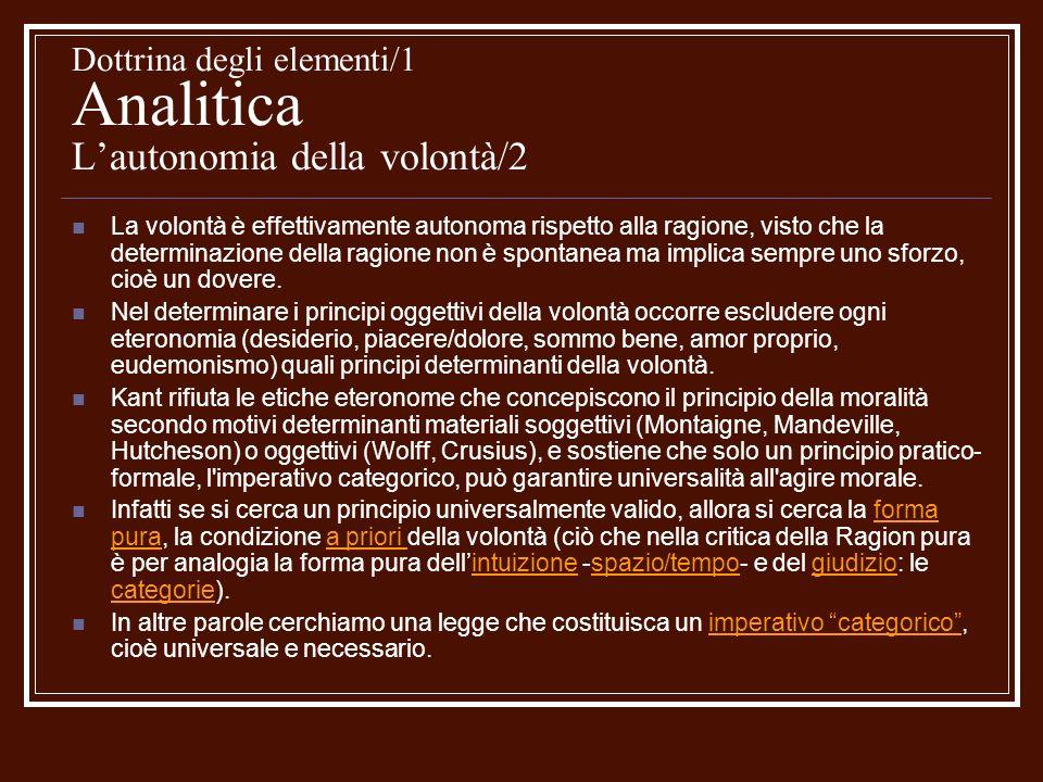 Dottrina degli elementi/1 Analitica L'autonomia della volontà/2