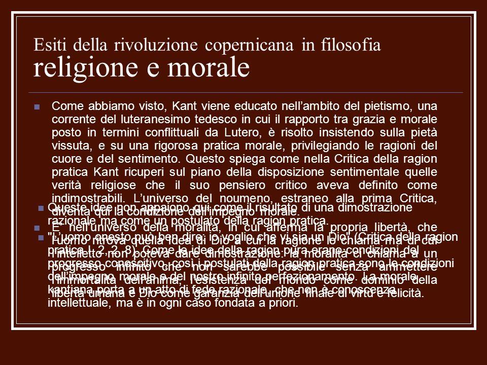 Esiti della rivoluzione copernicana in filosofia religione e morale