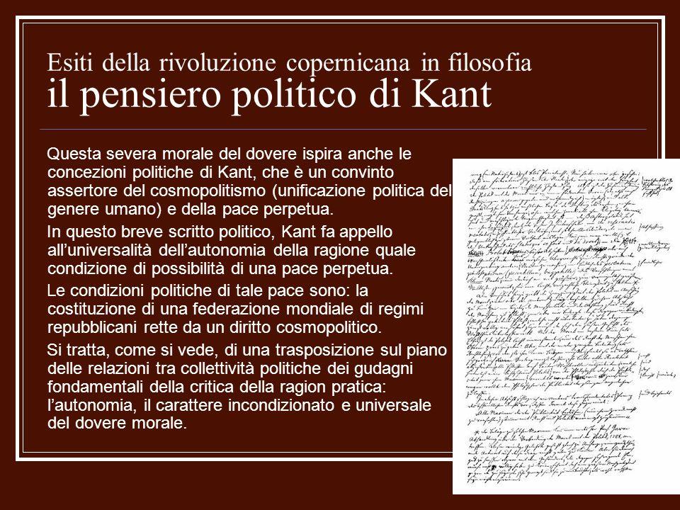 Esiti della rivoluzione copernicana in filosofia il pensiero politico di Kant