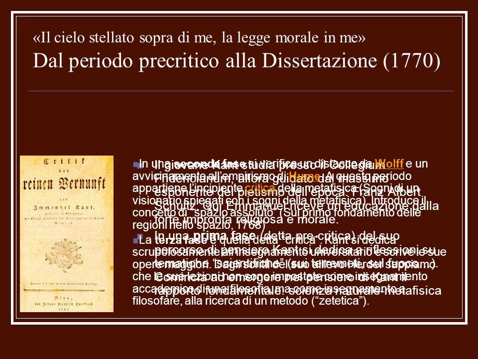 «Il cielo stellato sopra di me, la legge morale in me» Dal periodo precritico alla Dissertazione (1770)