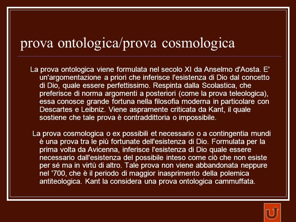 prova ontologica/prova cosmologica