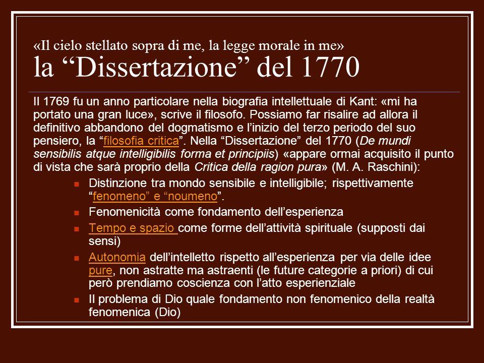 «Il cielo stellato sopra di me, la legge morale in me» la Dissertazione del 1770