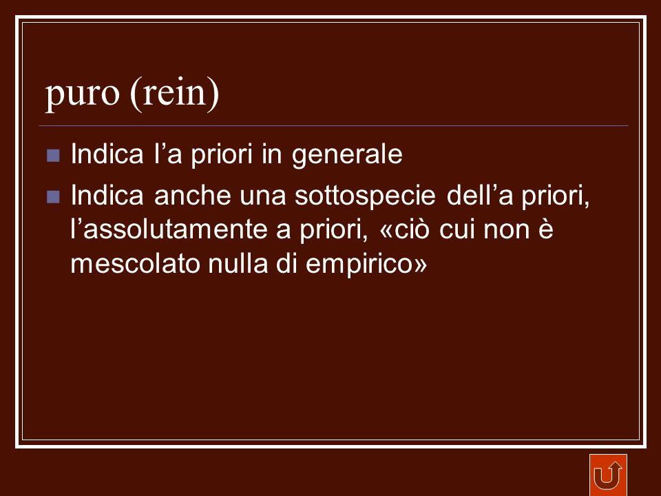 puro (rein) Indica l'a priori in generale