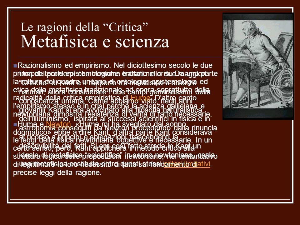 Le ragioni della Critica Metafisica e scienza