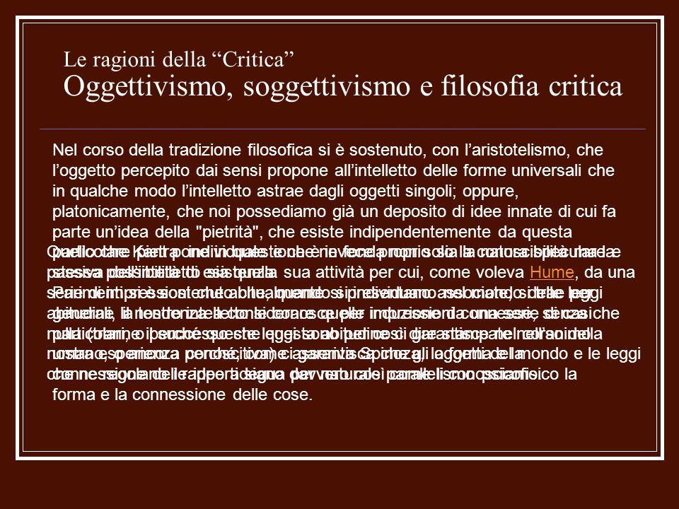 Le ragioni della Critica Oggettivismo, soggettivismo e filosofia critica