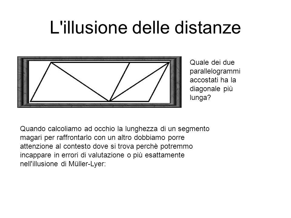 L illusione delle distanze