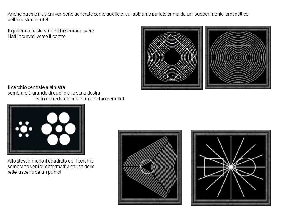 Anche queste illusioni vengono generate come quelle di cui abbiamo parlato prima da un suggerimento prospettico