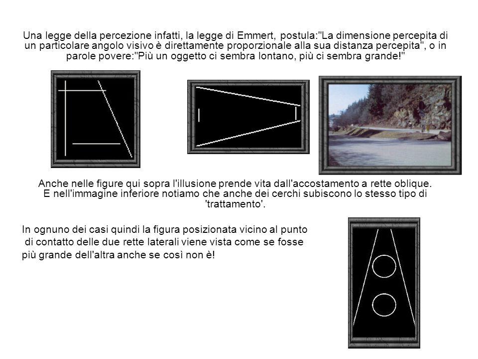 Una legge della percezione infatti, la legge di Emmert, postula: La dimensione percepita di un particolare angolo visivo è direttamente proporzionale alla sua distanza percepita , o in parole povere: Più un oggetto ci sembra lontano, più ci sembra grande!