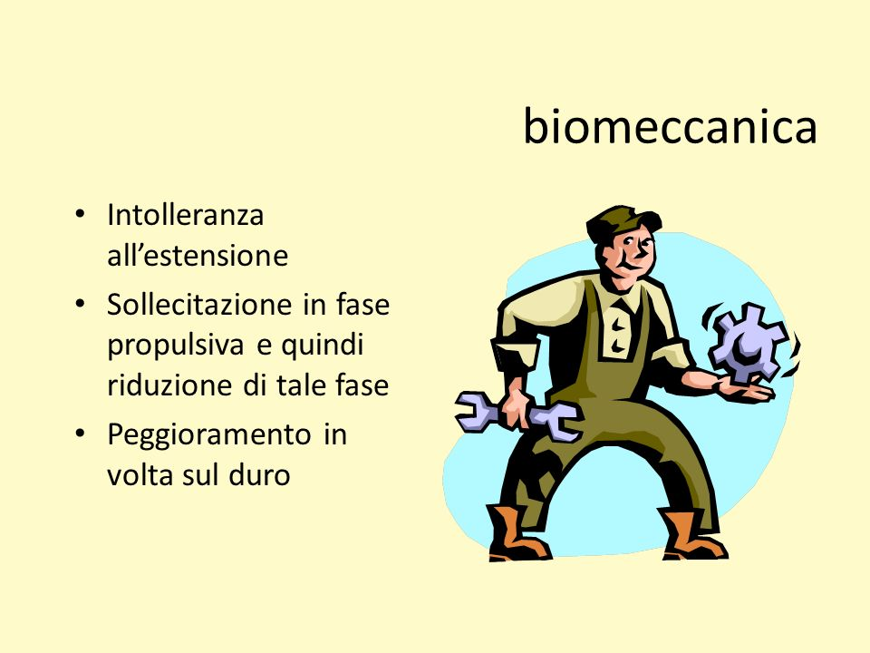 biomeccanica Intolleranza all'estensione