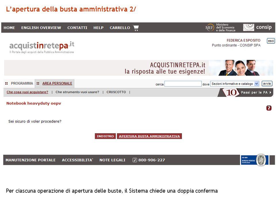 L'apertura della busta amministrativa 2/