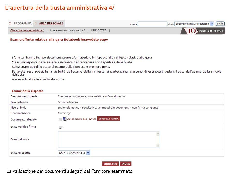 L'apertura della busta amministrativa 4/