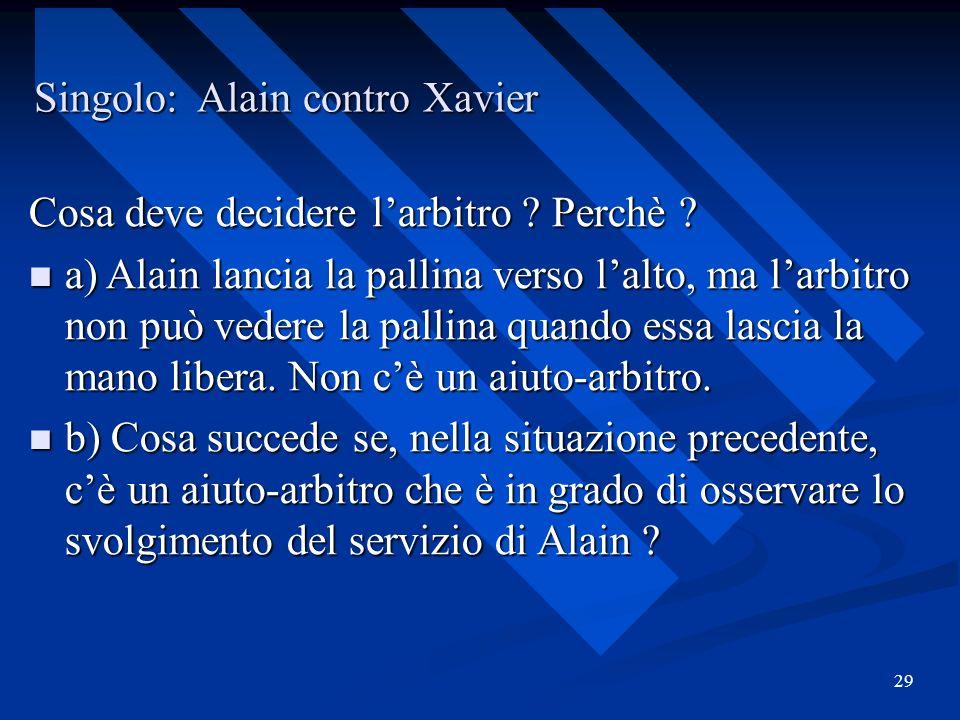 Singolo: Alain contro Xavier