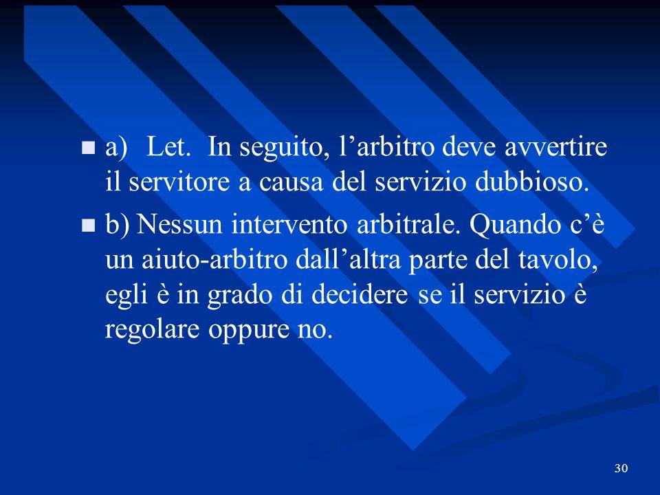 a) Let. In seguito, l'arbitro deve avvertire il servitore a causa del servizio dubbioso.
