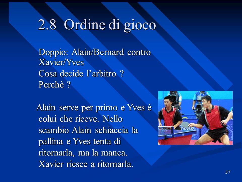 2.8 Ordine di gioco Doppio: Alain/Bernard contro Xavier/Yves
