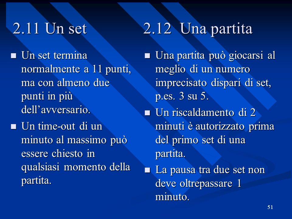 2.11 Un set 2.12 Una partita Un set termina normalmente a 11 punti, ma con almeno due punti in più dell'avversario.