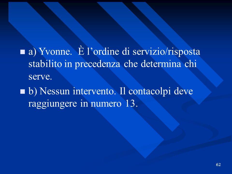 b) Nessun intervento. Il contacolpi deve raggiungere in numero 13.
