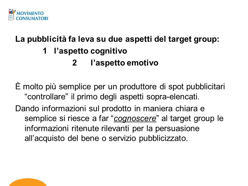 La pubblicità fa leva su due aspetti del target group: