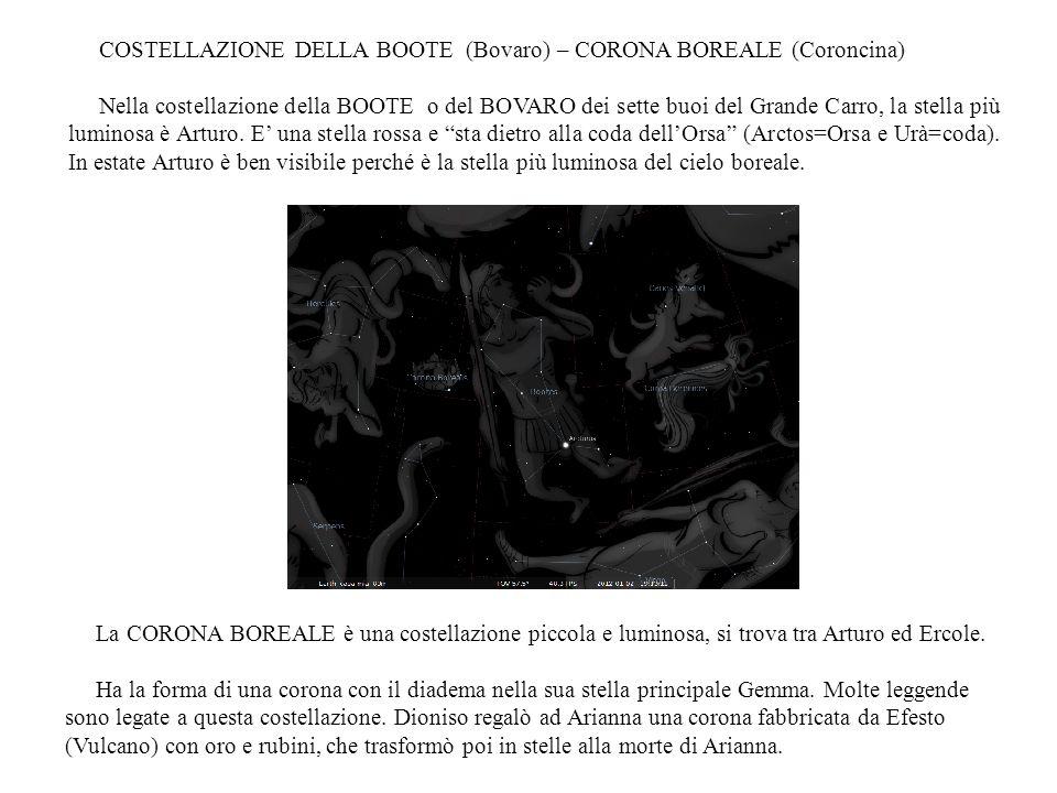 COSTELLAZIONE DELLA BOOTE (Bovaro) – CORONA BOREALE (Coroncina)