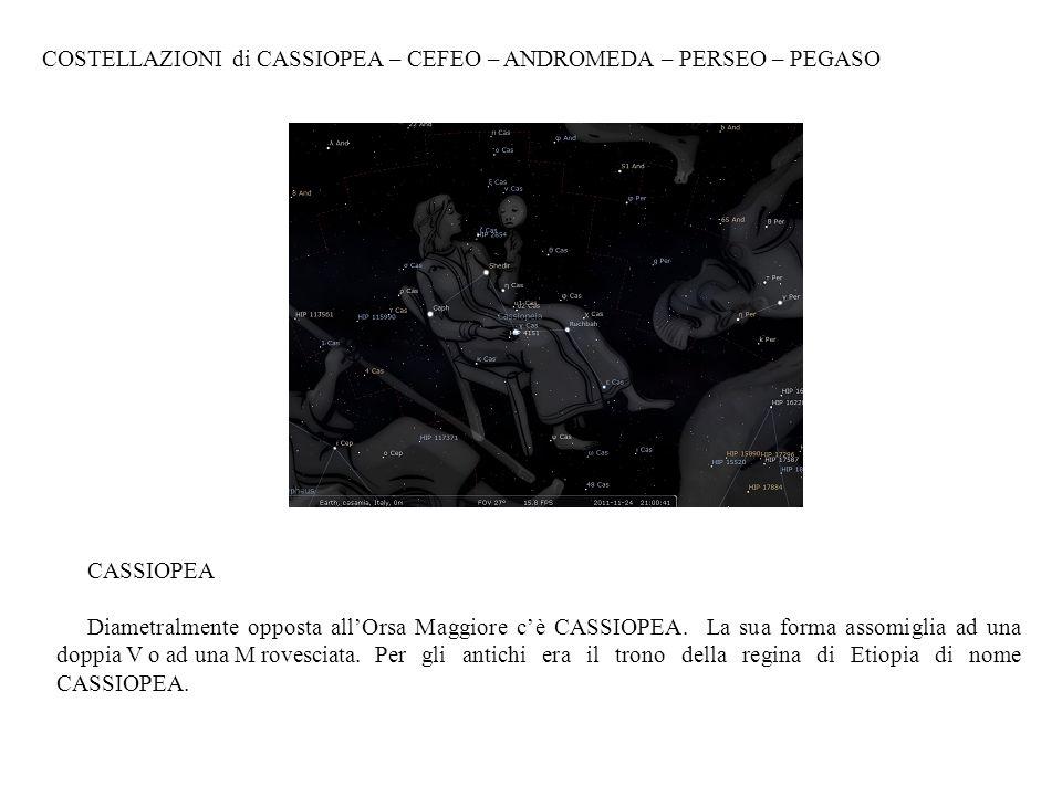 COSTELLAZIONI di CASSIOPEA – CEFEO – ANDROMEDA – PERSEO – PEGASO