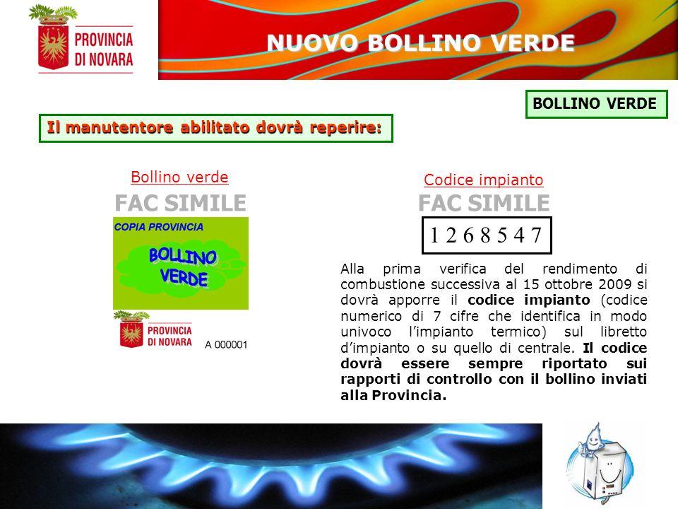 NUOVO BOLLINO VERDE FAC SIMILE FAC SIMILE 1 2 6 8 5 4 7