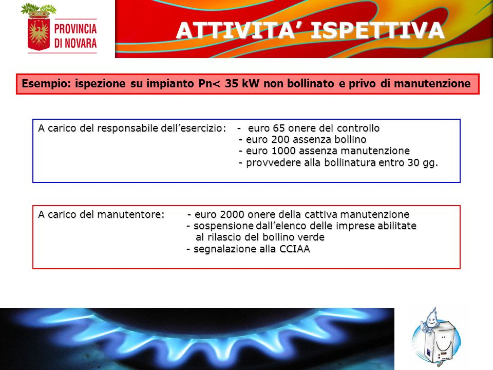 ATTIVITA' ISPETTIVA Esempio: ispezione su impianto Pn< 35 kW non bollinato e privo di manutenzione.