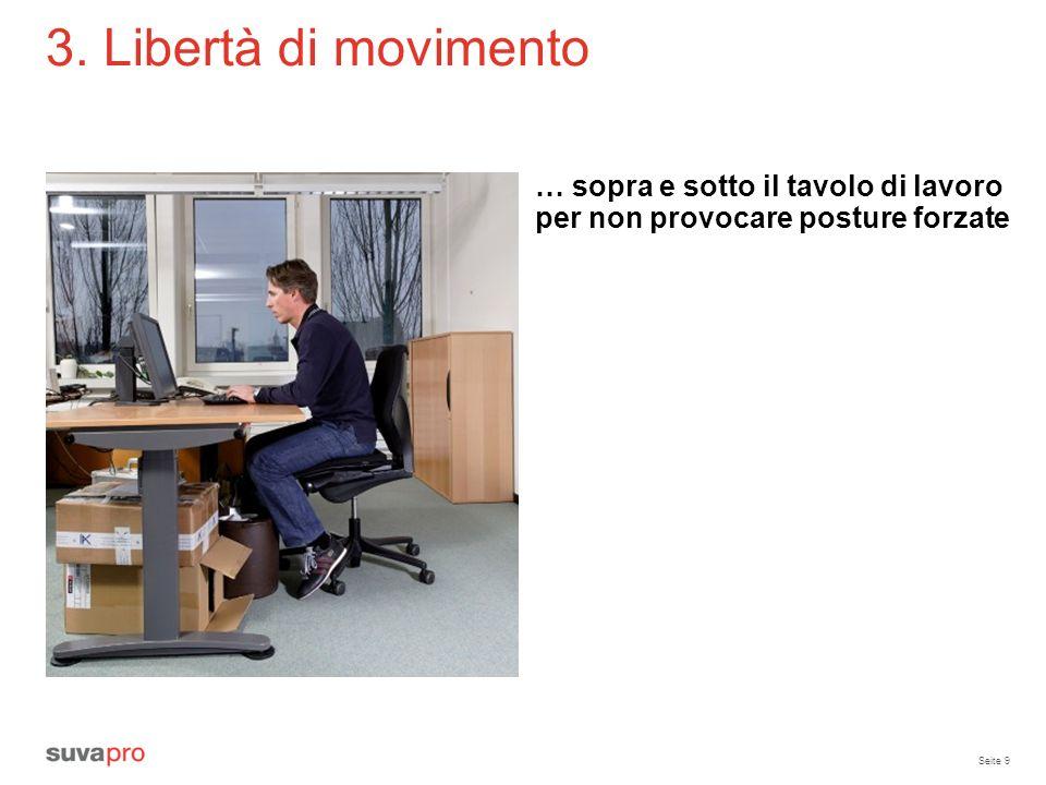 3. Libertà di movimento … sopra e sotto il tavolo di lavoro per non provocare posture forzate. Tavolo per videoterminale: almeno 80 cm x 120 cm.