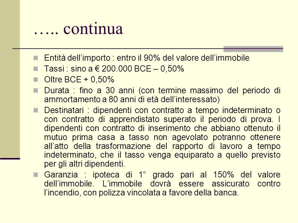 ….. continua Entità dell'importo : entro il 90% del valore dell'immobile. Tassi : sino a € 200.000 BCE – 0,50%