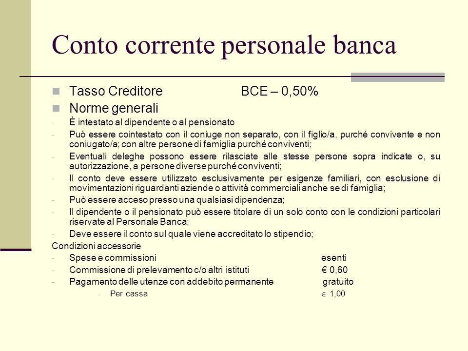 Conto corrente personale banca
