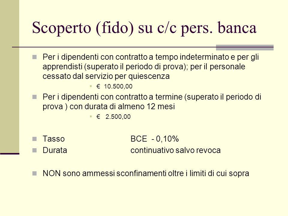 Scoperto (fido) su c/c pers. banca