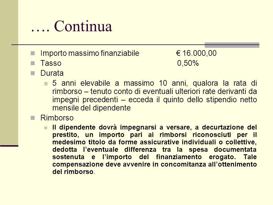 …. Continua Importo massimo finanziabile € 16.000,00 Tasso 0,50%