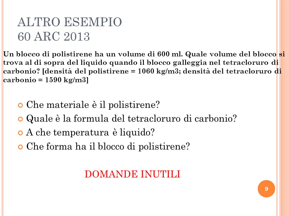 ALTRO ESEMPIO 60 ARC 2013 Che materiale è il polistirene