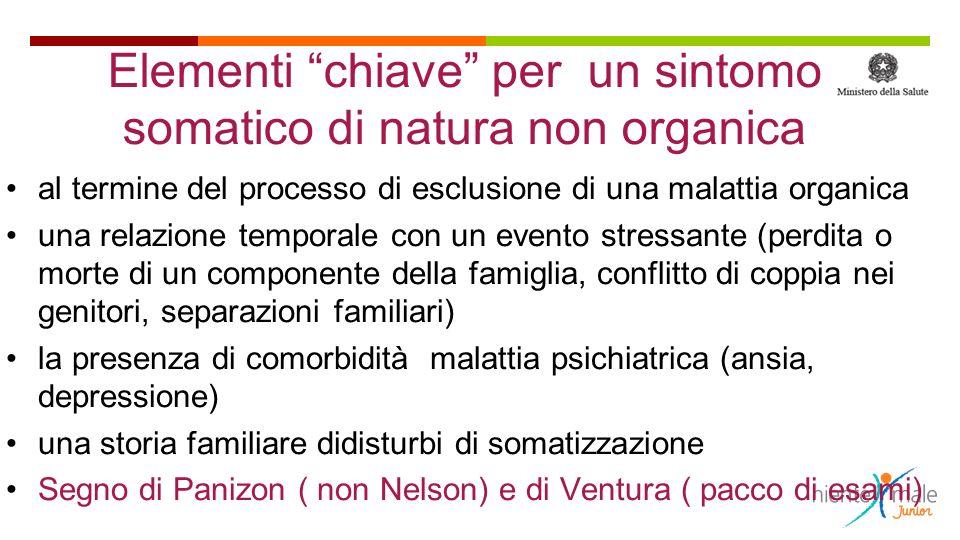 Elementi chiave per un sintomo somatico di natura non organica