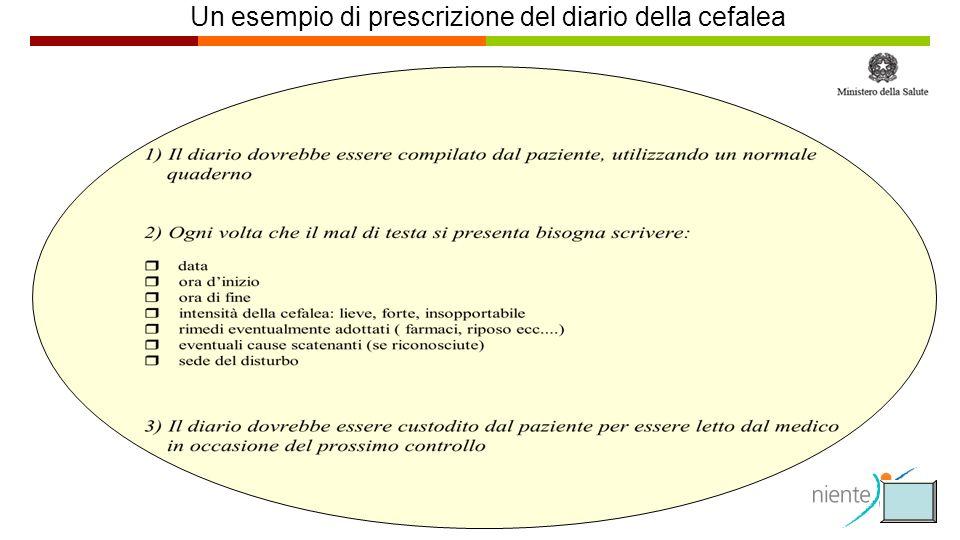 Un esempio di prescrizione del diario della cefalea